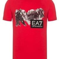 Emporio Armani Herren T-Shirt Crew Neck  EA7 Mountain Rot | Restposten und Grosshandel