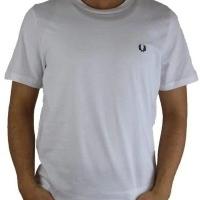 Fred Perry Herren T-Shirt Rundhalsausschnitt Weiß | Restposten und Grosshandel