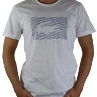 Lacoste Herren T-Shirt Rundhalsausschnitt Crocodile Brand Weiß | Restposten und Grosshandel