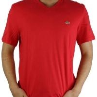 Lacoste Herren T-Shirt V-Ausschnitt Rot | Restposten und Grosshandel