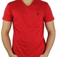 Ralph Lauren Herren T-Shirt V-Ausschnitt Rot | Restposten und Grosshandel