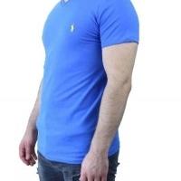 Ralph Lauren Herren T-Shirt V-Ausschnitt Saxblau Yellow | Restposten und Grosshandel