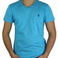 Ralph Lauren Herren T-Shirt V-Ausschnitt Türkis | Restposten und Grosshandel