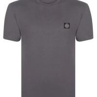 Stone Island Herren T-Shirt Crew Neck  Roll Brand Grau | Restposten und Grosshandel